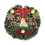 Ghirlanda natalizia da 30 cm, decorazione natalizia con scritta in inglese 'Merry Christmas', per porta d'ingresso, da appendere alla parete, decorazione natalizia