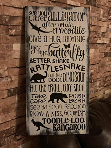 43LenaJon Kids Rhyme See You Later Alligator Distressed Wood Sign,Inspiring Quote Saying Words Signs for Home Garden Farmhouse Kitchen Bar