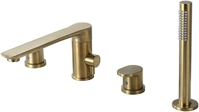 Xiaowenwen Badewannenhahn hei und Kalt Gold Zylinder Seite Wasserhahn Split Dusche Sprinklerkopf Gesetzt Vier Loch Gold