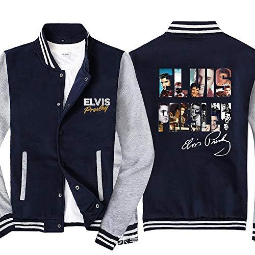 Männer Pullover Jacke Elvis Printed Sweatshirt Baseball-Trikot Langarm-Zip Trainingsjacken - Teen Gift Blue Gray-4XL