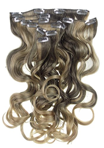 Toutes les couleurs disponibles, Ensemble De Pinces Extensions De Cheveux Ondulées Extra Longues Marron Foncé Avec Méches Dorées 50 Cms 180 Grammes