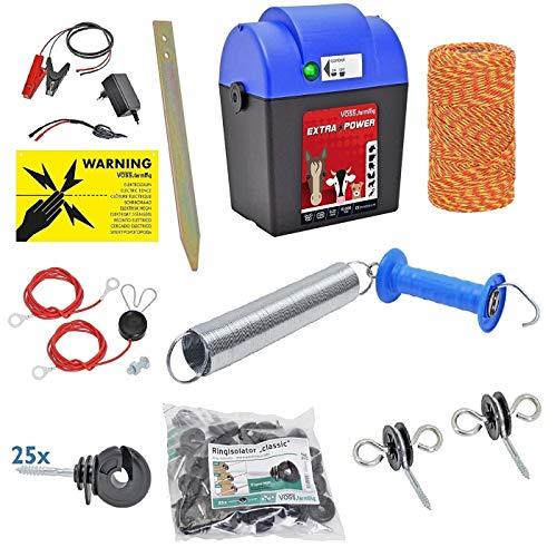 VOSS.farming Kit Recinto Elettrico Extra Power con Filo ed Accessori, recinti elettrici, Equitazione, elettrificatore, Cavallo, Mucca, Pony,