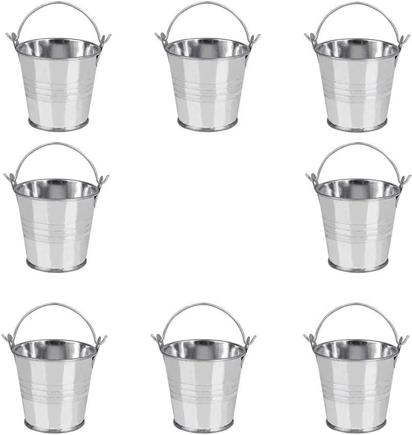 Integrity.1 Pequeños Cubos de Metal,8 Piezas Mini Cubos Metal,Mini Cubo de Metal Caja de Dulces con Asas,para Fiesta, Boda, Caja de Dulces, Baratijas, Mini Contenedor de Jardín de Maceta