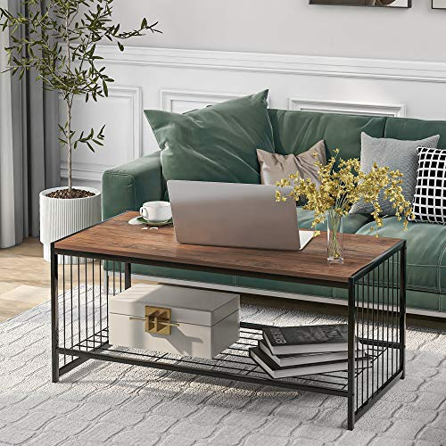 GTWIN Coffee Table, Mid-Century Style Cocktail Table, Industrial Side Table TV Table Console Table Shoe Bench with Metal Frame and Storage Shelf for Living Room, Bedroom, Rustic Brown