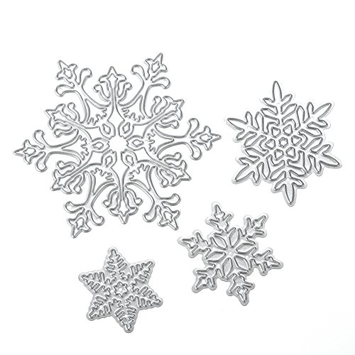 Scrapbooking dies de decoupe 4pcs Flocon de neige de Noël Cutting Dies pochoirs Matrices de découpe Bricolage Album papier carte Craft