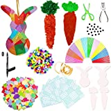 Exquiss Easter Suncatcher Crafts Suncatcher Bunny&Carrot Crafts with 14 Colors of Tissue Paper Squares and Craft Kits for Kids Easter Crafts Contact Paper Suncatchers Easter DIY Activities (2000)