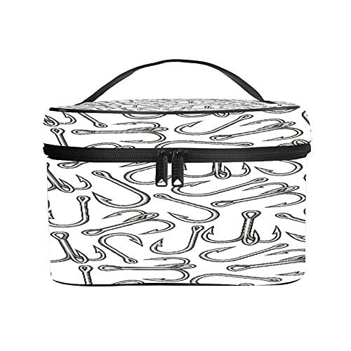 CIKYOWAY PU Kosmetiktasch,Hintergrundmuster mit Angelhaken,Tragbare Wasserdicht Makeup Tasche Organizer Kulturtasche mit,Tragegriff 25×18×15cm