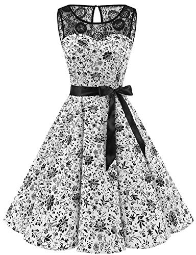 bbonlinedress 1950er Ärmellos Vintage Retro Spitzenkleid Rundhals Abendkleid White Skull L