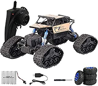 2.4GHz Alloy Shell Stunt Climbing Car All Terrain Remote Control Car Tracked Wheel Interchange Vehicle 4WD High Speed Raci...