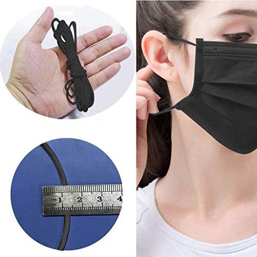 TEFIRE 3mm Cordón elástico Cinta de carrete plano Tela Cintas elásticas para coser Ropa de ocio creativa DIY. (Negro, 20M)