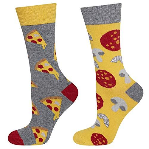 soxo Damen Bunte Muster Socken | Größe 35-40 | Motivsocken aus Baumwolle | Lustige Geschenk für Frauen (Pizza)