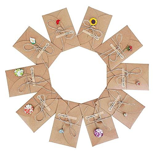 10 Pezzi Biglietto di Auguri Cartolina Buste Fatti a Mano Retrò Carta Kraft Biglietti di Auguri e buste con Fiori Secchi Finti Decorato Spago e Adesivi per Inviti Matrimonio Compleanno Partecipazioni