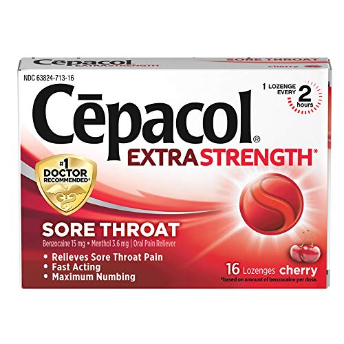 Cepacol Maximum Strength Throat Drop Lozenges, Cherry Flavor, 16 Count