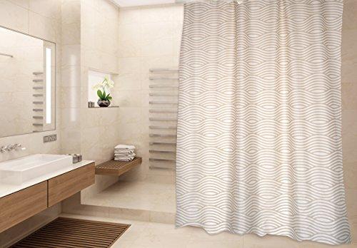 """MSV Cotexsa by Premium Anti-Schimmel Textil Duschvorhang - Anti-Bakteriell, waschbar, 100prozent wasserdicht, mit 12 Duschvorhangringen - Polyester, """"Wave"""" Beige 180x200cm – Made in Spain"""