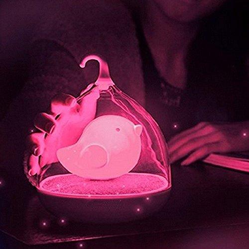 Luz nocturna LED con sensor táctil, jaula de pájaros, regulables, para decoración de dormitorio de niños, color rosa