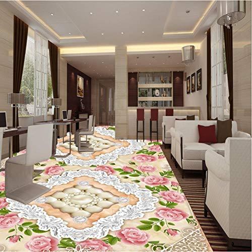 Pbbzl Fotobehang, 3D, steenmotief, Europese stijl, Jade Flooring, keuken, zelfklevend, voor kantoor, vloer, bureau 280 x 200 cm