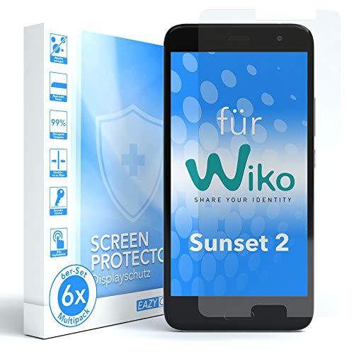 EAZY CASE 6X Bildschirmschutzfolie für WIKO Sunset 2, nur 0,05 mm dick I Bildschirmschutz, Schutzfolie, Bildschirmfolie, Transparent/Kristallklar