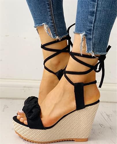 Sandalias de Verano con Correa en el Tobillo para Mujer, Plataforma, cuñas, tacón Alto, Flock, Mariposa, Peep Toe, Zapatos de Moda para Mujer, Negro