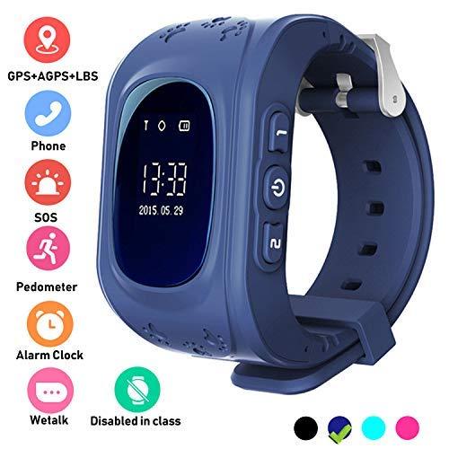 Niños Smartwatch Teléfono Localizador GPS, Reloj de Pulsera Inteligente con Chat de Voz SOS Cámara Despertador Smart Watch Mejor Regalo Niño niña de 3 a 12 años Compatibles con iOS Android,Azul oscuro