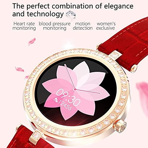 Reloj inteligente impermeable para mujer, reloj deportivo, reloj de fitness, pulsómetro, reloj digital con calorías, monitor de sueño (color rojo)