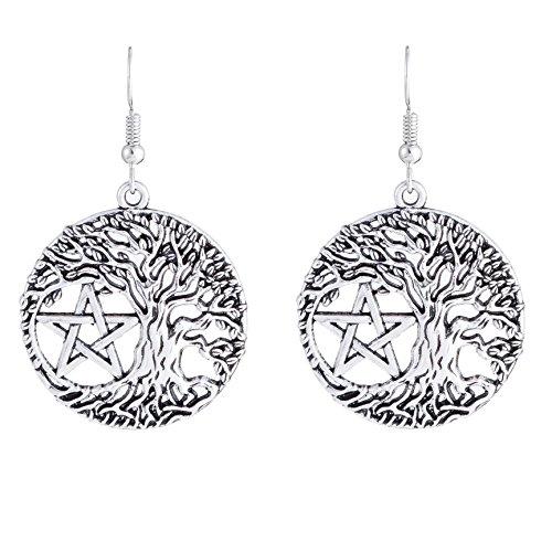 fishhook Pendientes de pentagrama vintage con forma de círculo Wicca religioso árbol de la vida, pendientes colgantes colgantes para mujeres, mamá, hermana, abuela, amante
