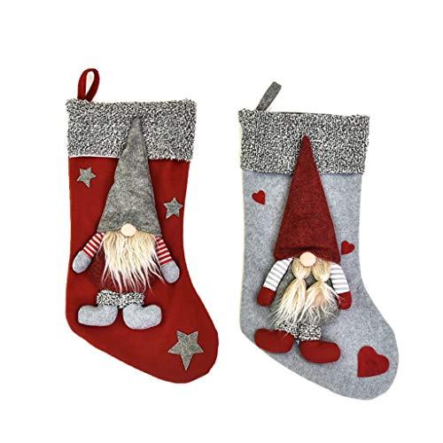 MRULIC WeihnachtsstrüMpfe Socken Zum BefüLlen Und AufhäNgen Nikolaus Stiefel Weihnachten Kamin Strumpf Deko Socke Weihnachtsbaum Deko(A7)