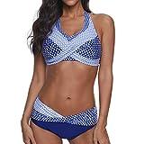 Bikinis Mujer 2019 Push up Sexy de Lunares de Playa Conjunto de Traje de BañO Estampado Bohemio BañAdores con Relleno Sujetador Tops y Braguitas Ropa de Playa vikinis riou (Azul, S)