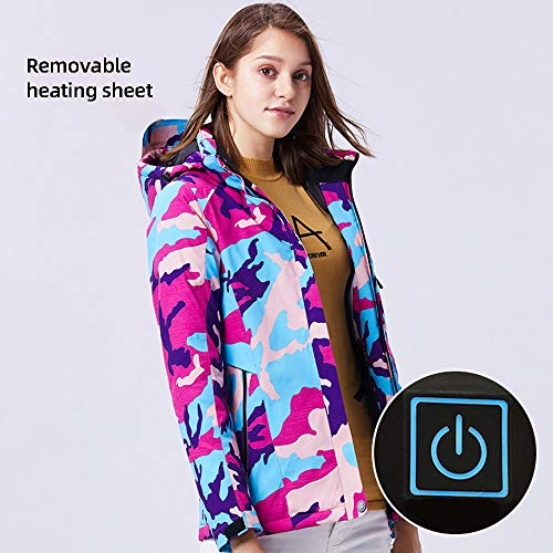 Roboraty Women Heated Jacket with USB, Electric Warm Cotton Coat with Reflective Strip, 3-Speed Temperature Control, Waterproof and Windproof, for Ski Moto Bike,Color-XL
