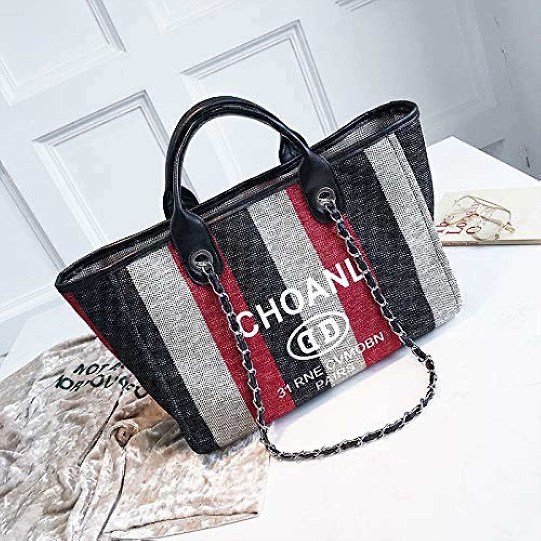 WANGZHAO Single Shoulder Bag, Female Bag, Handbag, Fashionable Canvas, Striped, Type of Joker Chain.