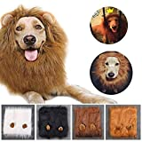 Qiao Niuniu Lion Mane for Dog Costume Lion Wig Large Pet Festival Party Fancy Hair Dog Clothes with Ears-Color White