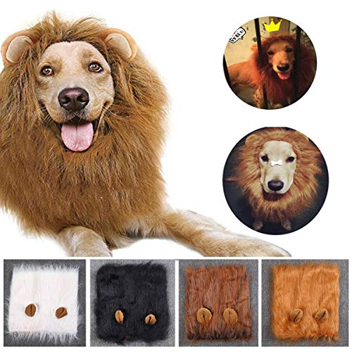 Lion Mane for Dog Costume Lion Wig Large Pet Festival Party Fancy Hair Dog Clothes with Ears-Color...
