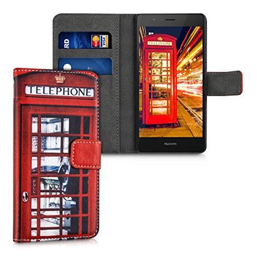 kwmobile Hülle kompatibel mit Huawei P9 Lite - Kunstleder Wallet Case mit Kartenfächern Stand London Telefon Rot Schwarz Weiß