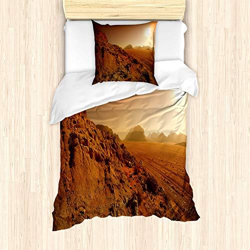 ABAKUHAUS Galaxia Funda Nórdica, Espacio Clash Paisaje, Decorativo, 2 Piezas con 1 Funda de Almohada, 135 x 200 cm, marrón Amarillo
