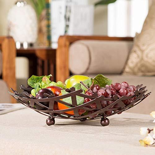 XFSE Home Decor Tianyi - Plato de fruta para sala de estar, gran capacidad, diseño de nido de pájaro, moderno y creativo estante minimalista para tartas, 40 x 10 cm (color latón)