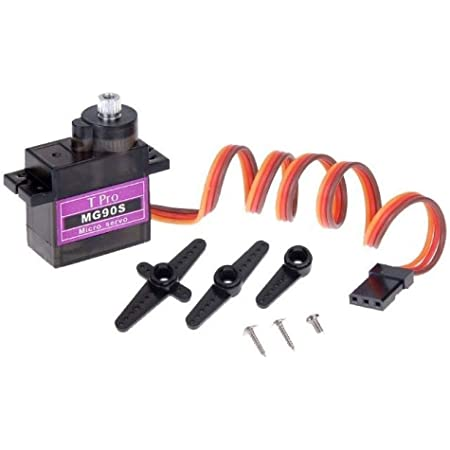 Robotbanao Mg90s Metal Geared Micro Servo 180 Degree for Rc Car Boat Plane Helicopter, Multi