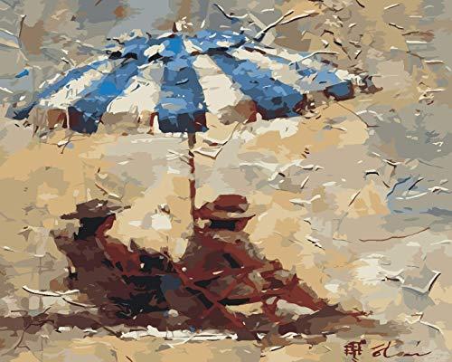 CYSGJ Erwachsene Malerei Set DIY Digitale Malerei Menschen Mit Regenschirmen Ruhen Anfänger Zeichnen Auf Leinwand 16X20 Zoll (Rahmenlos)