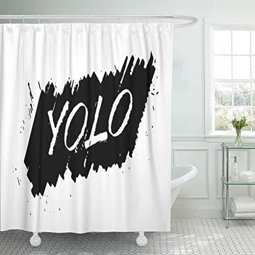 COFEIYISI Neueste Duschvorhänge ABC Yolo Motivationsphrase Pinsel Expressive Dirty Lettering Modern auf Schwarz Wasserdicht Bad Vorhang Waschbar Bad Vorhang Polyester Stoff mit 12 Haken 180x180 cm