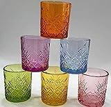 Pagano Home - 6 vasos para agua/wisky, colores surtidos, de cristal, capacidad de 340 ml (rojo, transparente, lila, verde, naranja celeste)