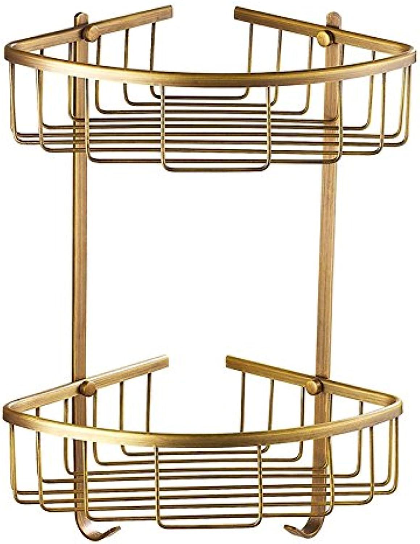 Shelf Bathroom European Antique Bathroom Corner Racks Bathroom Racks Triangular Baskets All-Copper Tripod (Size   B )