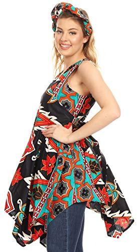 Sakkas 2255 - Vale Womens African Ankara Sleeveless Short Cocktail Wrap Dress with Pocket - 41-BlackTeal - OS