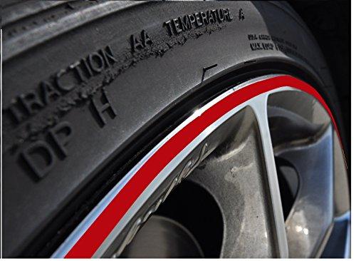5mm Rot Felgenrand Aufkleber 10-24 Zoll Radgröße passend für Motorrad und Auto geeignet