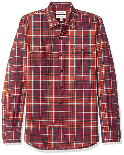 Amazon-Marke: Goodthreads Herrenhemd, Langarm, kariert, aus Twill, schmale Passform, Blau (Rust Navy Plaid Rus), US S (EU S)
