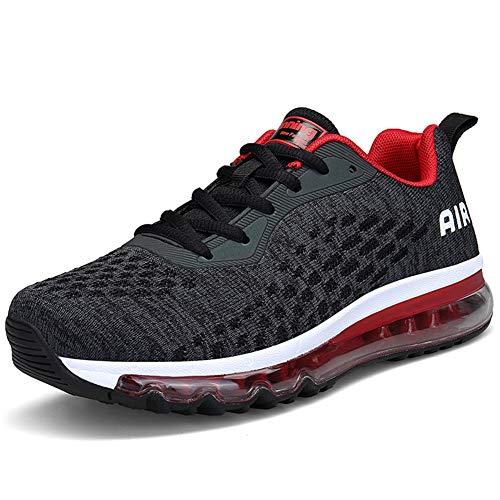 IceUnicorn Herren Damen Laufschuhe Fitnessschuhe Atmungsaktiv Gym Sportschuhe Straßenlaufschuhe Outdoor Turnschuhe Joggen Schuhe Freizeit Sneaker(8078-Schwarz Rot,36EU)