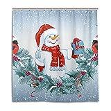 CPYang Duschvorhänge Weihnachten Schneemann Vogel Wasserdicht Schimmelresistent Badevorhang Badezimmer Home Decor 168 x 182 cm mit 12 Haken