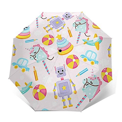 Paraguas Plegable Automático Impermeable Juguetes Robot Divertido, Paraguas De Viaje Compacto a Prueba De Viento, Folding Umbrella, Dosel Reforzado, Mango Ergonómico