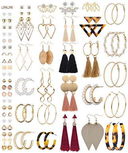 Milacolato 54 paires Assorties de Boucles D'oreilles Multiples pour Femmes Filles Lot Grand Cerceau Coloré Bohème Fantaisie Boucles D'oreilles Pendantes pas Cher Ensembles