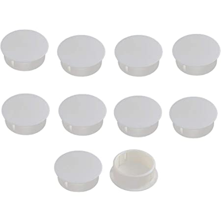RLECS 10pcs Nylon Plastic Round Snap in Type Door Window Mounting Locking Furniture Hole Plugs Button Protective Cover Cap Head Color White 5pcs 28mm + 5pcs 30mm