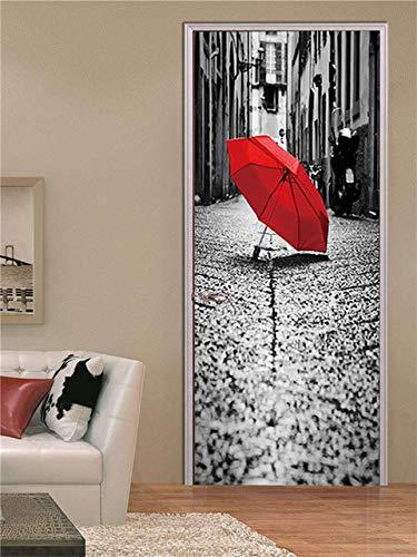 KJKL 3D Door Stickers Wall Stickers Interior Doors Sticker Decal Art Houses city buildings street umbrellas Self Adhesive Door Mural Removable Waterproof Home Decoration Living Room Bedrooms 88x200cm