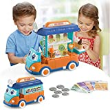 EylbKey Ice Cream Truck, Pretend Play Food Truck Set with Light and Sounds for Kids, Girls & Boys - Blue Orange