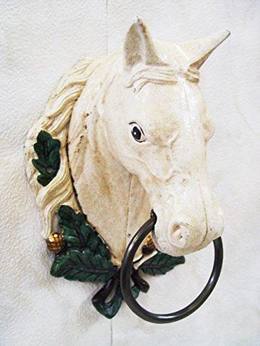 Deko Handtuchhalter Bad Halter Ring Motiv: Pferdekopf Gußeisen Höhe 30 cm